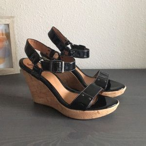 Sofft Patent Leather Wedges Size 8